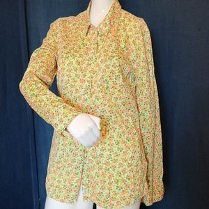 Gap Fitted Boyfriend Neon Button Down Floral Top S